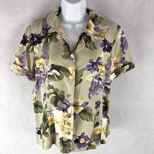 Koret Beige Purple Button Up Floral Top M